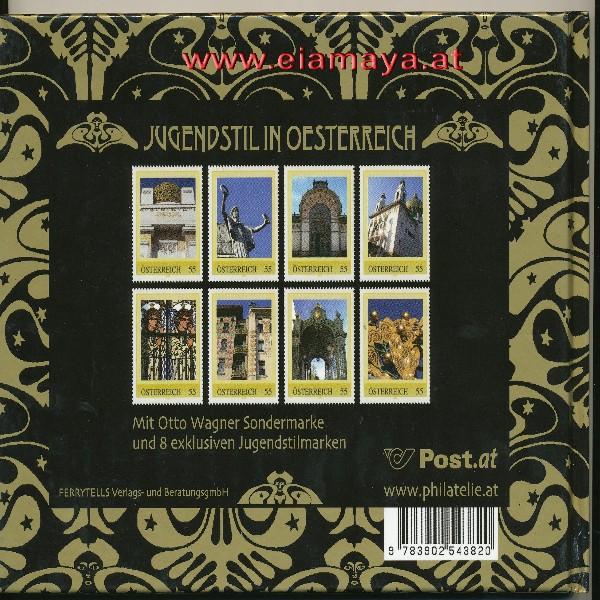 Briefmarkenbuch Jugendstil in Österreich mit 9 Briefmarken