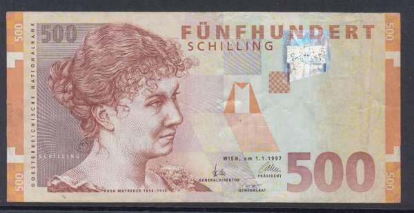 500 Schilling 1.1.1997 Rosa Mayreder Gebraucht Nr. AB280346X Pick 154