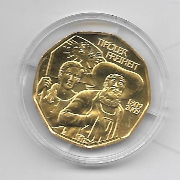 5 Euro 24 Karat vergoldet Silber 2009 Tiroler FreiheitANK Nr.15b
