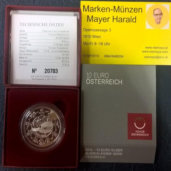 10 Euro 2016 Österreich Silber PP Ank. Nr.30
