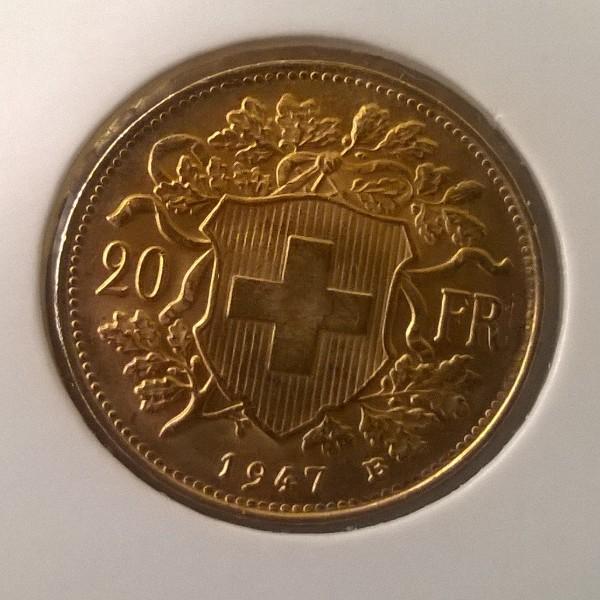 20 Franken 1947 Vreneli Schweiz Gold