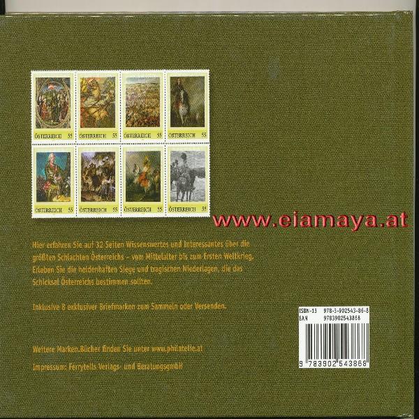 Briefmarkenbuch Die größten Schlachten Österreichmit 8 exklusiven Marken