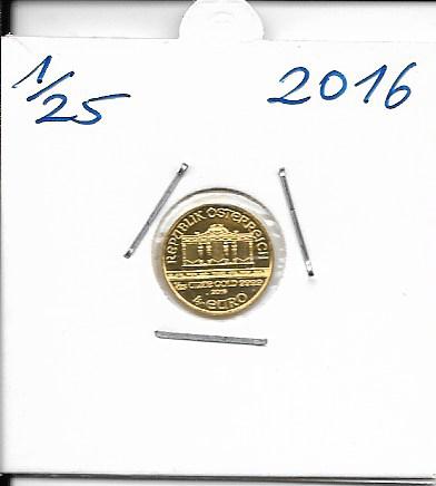 2016 Philharmoniker 1/25 Unze 4 € Euro 1,24 Gramm