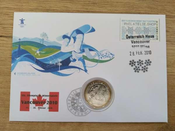 NBE 23b) XXI Olympische Winterspiele Vancouver 2010 Numisbrief mit 5 Euro Silber Snowboarder
