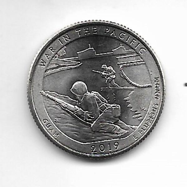 """USA 25 Cent 2019 D""""Beautiful Quarter - Pacific War / Guam"""" - (48)"""