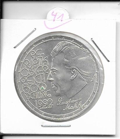 ANK Nr. 41 Gustav Mahler 1992 500 Schilling Silber Normal