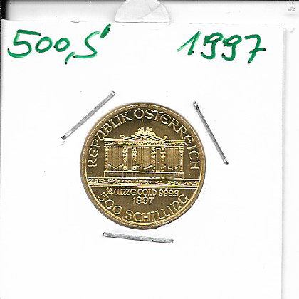 1997 Philharmoniker 1/4 Unze 500 Schilling ATS 7,78 Gramm