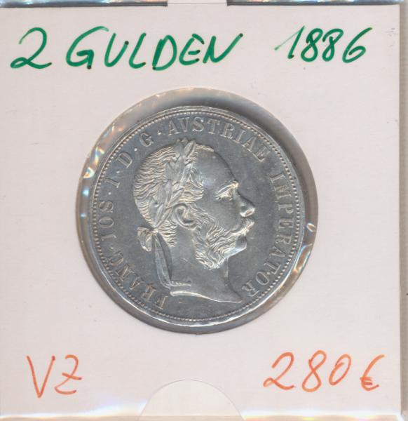 2 Gulden 1886 Silber Franz Joseph I