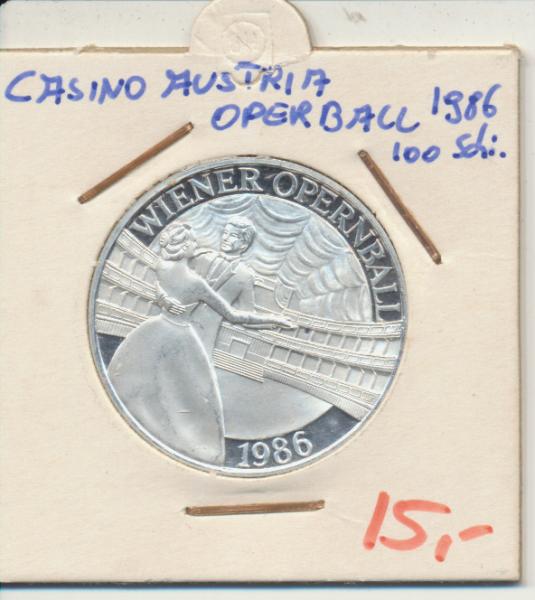 Casino Sonderjeton 100 Schilling Wiener Opernball 1986 Casinos Austria Silber