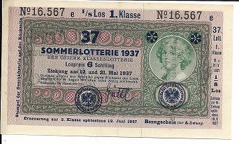 Donaustaat Noten 10 Kronen mit Lotterieaufdruck 1.Klasse 1937 ANK193