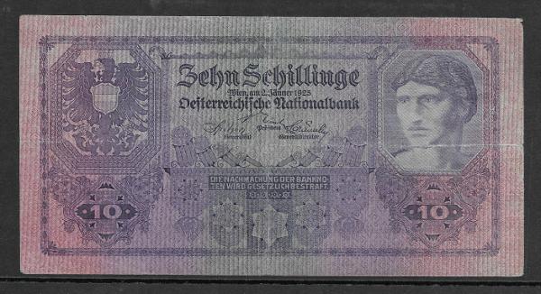 10 Schilling 2 Jänner 1925 Ank.Nr.212 Pick 89 Nr.1005 398385