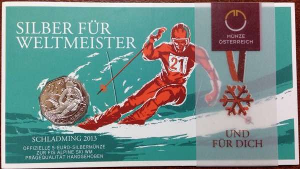 5 Euro Silber 2012 Schladming 2013 Blister ANK Nr. 22a