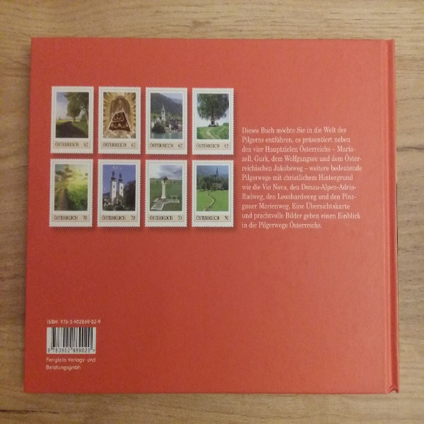 Briefmarkenbuch Pilgerwege in Österreichmit 8 exklusiven Marken