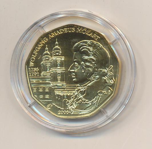 ANK Nr.08 24 Karat vergoldet 2006 250 Geburtstag Wolfgang Amadeus Mozart 5 Euro Silber