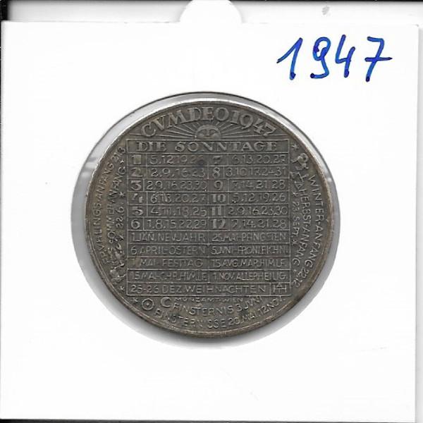1947 Kalendermedaille Jahresregent Bronze versilbert