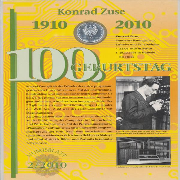 """Numisblatt Deutschland 2/2010 """"100. Geburtstag Konrad Zuse"""" mit 10-€-Silbermünze"""