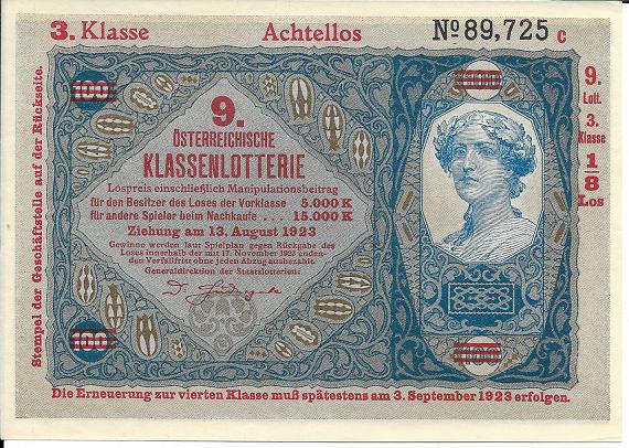 Donaustaat Noten 100 Kronen mit Lotterieaufdruck 3.Klasse 1923 ANK196