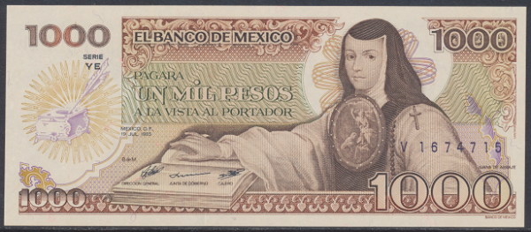 Mexiko- 1000 Pesos 1985 UNC - Pick 85
