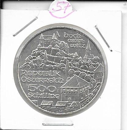 ANK Nr. 57 Burg Hochosterwitz 2000 500 Schilling Silber Normal