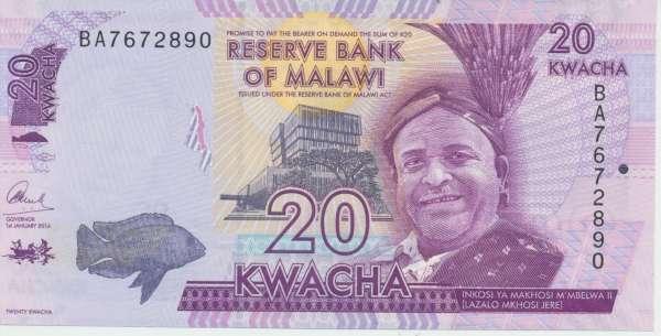 Malawi - 20 Kwacha 2012 UNC - Pick 57