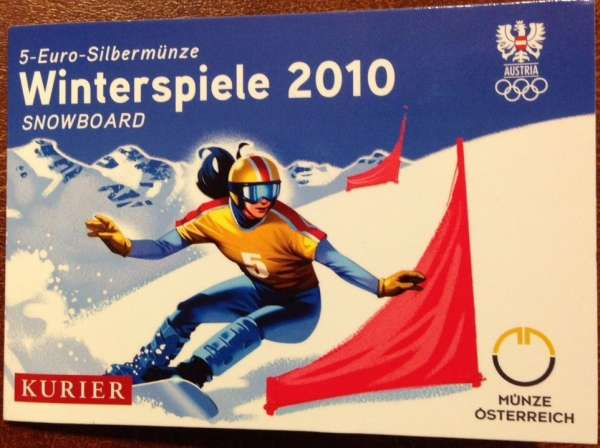 5 Euro Silber 2010 Winterspiele Snowboarter ANK Nr. 17c