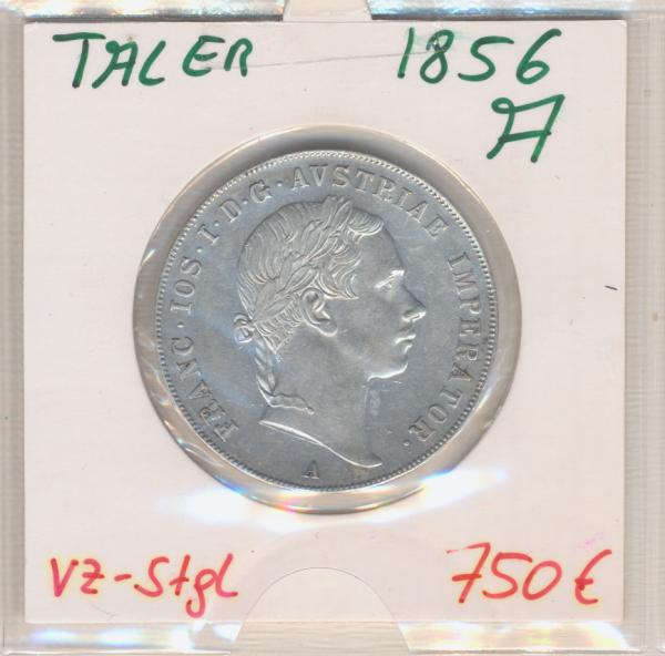 2 Gulden Taler 1856 A Silber Franz Joseph I