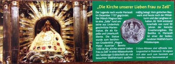 5 Euro Silber 2007 850 Jahre Mariazell Grün ANK Nr.10c