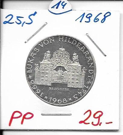 25 Schilling 1968 PP Lukas von Hildebrandt ANK Nr. 014