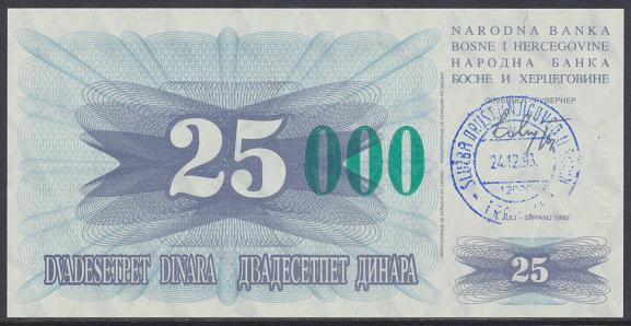 Bosnien Herzogowina- 25 000 Dinara 24.12.1993 unc - Pick Nr.54c Grün