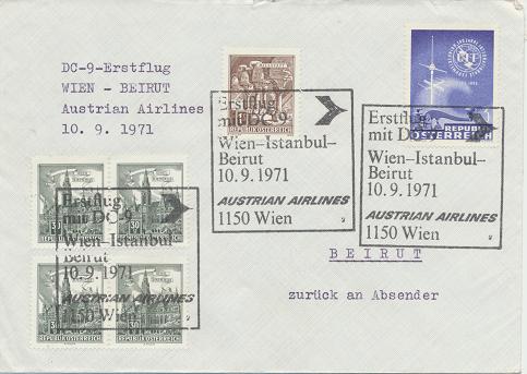 Erstflug Aua DC-9 Wien - Istanbul - Beirut 10.9.1971
