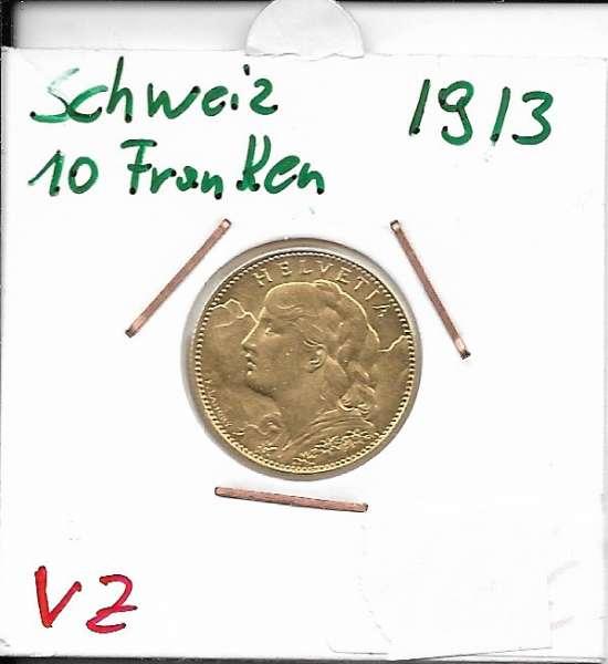 10 Franken 1913 B Vreneli Schweiz Gold