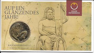 2015 Kalendermedaille Jahresregent Silber vergoldet Blister