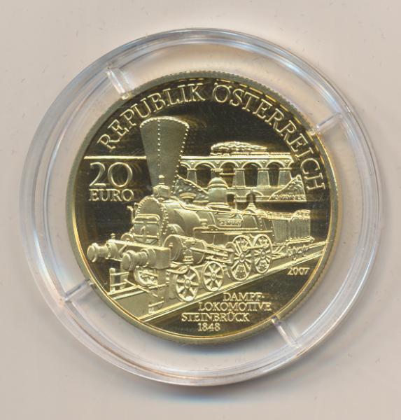 20 EURO Silber 2007 K.K.Südbahn Wien-Triest 24 Karat Vergoldet