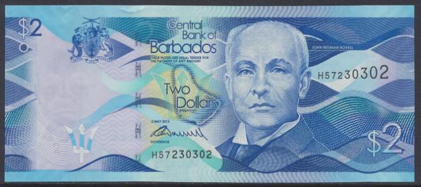 Barbados - 2 Dollars 2013 UNC - Pick 73