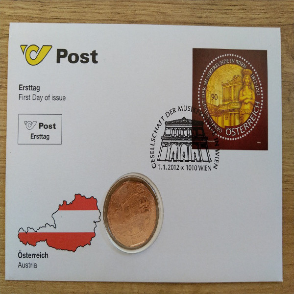 NBE 26 Gesellschaft der Musikfreunde in Wien Numisbrief mit 5 Euro Münze 2012