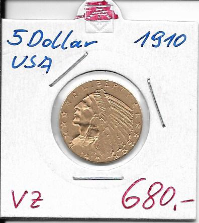 5 Dollar 1910 USA Gold