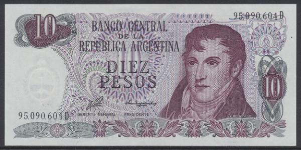 Argentinien – 10 Peso (1973-76) (Pick 295) Erh. UNC
