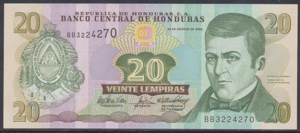 Honduras - 20 Lempiras 2004 UNC - Pick 92