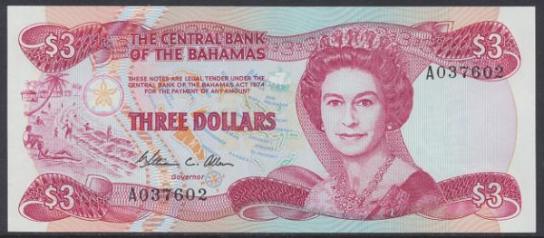 Bahamas -3 Dollars 1974 (84) UNC - Pick 44