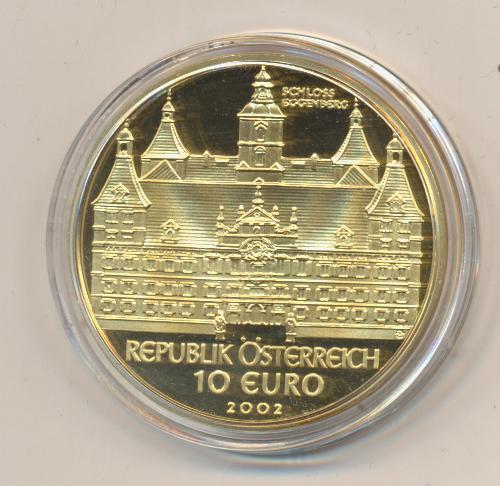 10 EURO Silber 2002 Schloss Eggenberg 24 Karat Vergoldet