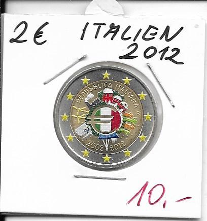 2 Euro Italien 2012 10 Jahre Euro Coloriert