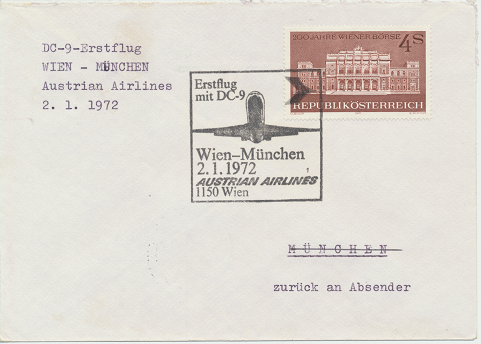 Erstflug Aua DC-9 Wien - München 2.1.1972
