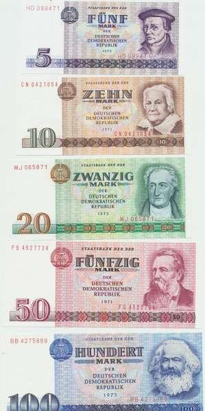 DDR – 5-100 Deutsche Mark 1971-75 , () Erh. UNC