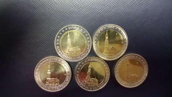 2 Euro Deutschland 2008 Hamburg alle 5 Prägestätten A,D,F,G,J