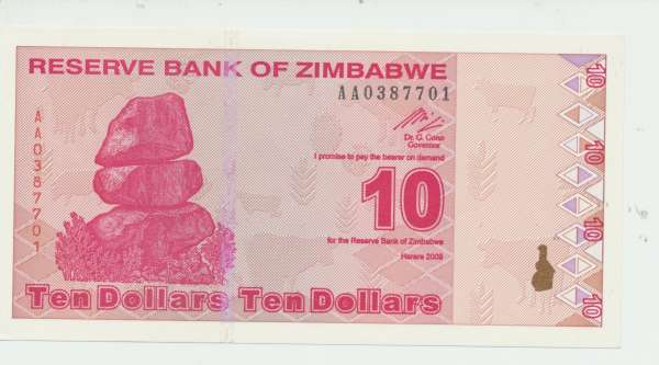 Zimabwe – 10 Dollars 2.2.2009, (P.94) Erh. UNC