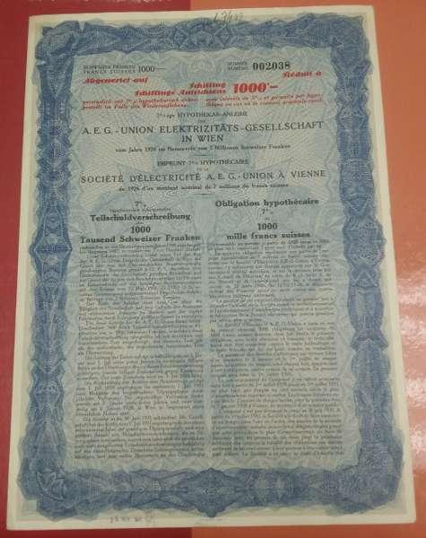 Aktie AEG Union Elektrizitäts Gesellschaft in Wien 1926 Aktie zu 1000 Schilling
