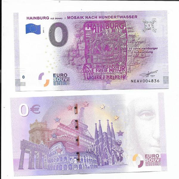 0 Euro Schein 2019-1 Hainburger Aubesetzung Hundertwasser Unc