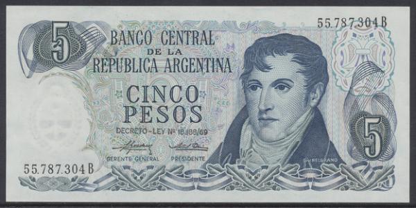 Argentinien – 5 Peso (1974-76) (Pick 294) Erh. UNC