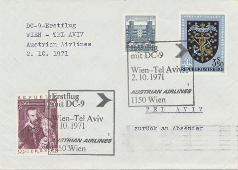 Erstflug Aua DC-9 Wien - Tel Aviv 2.10.1971