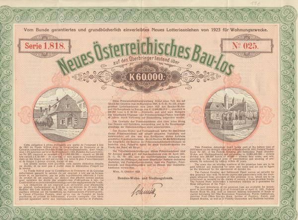 Neues Österreichisches Bau Los 60000 Kronen 1923